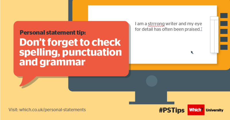 Personal statement tip: Don't forget to check spelling, punctuation and grammar